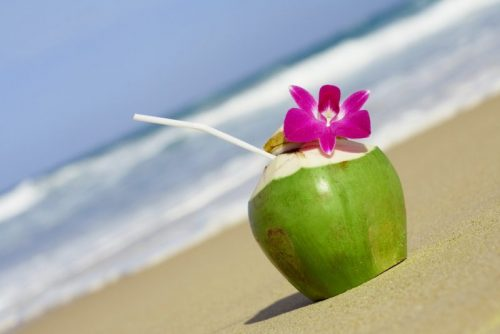 água de coco natural X industrializada