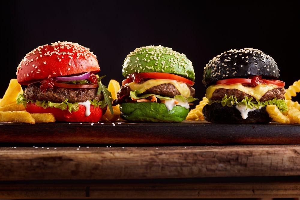pão de hambúrguer colorido